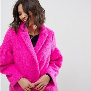 ASOS | Hot Pink Oversized Teddy Coat